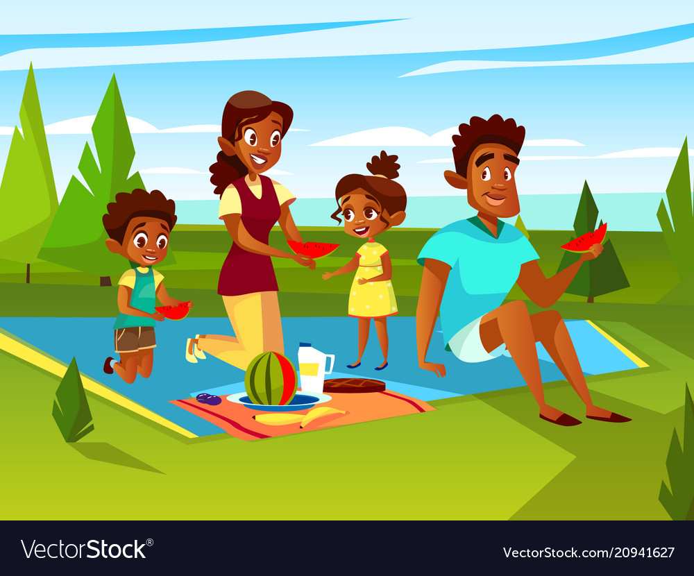 Cartoon african family at picnic party