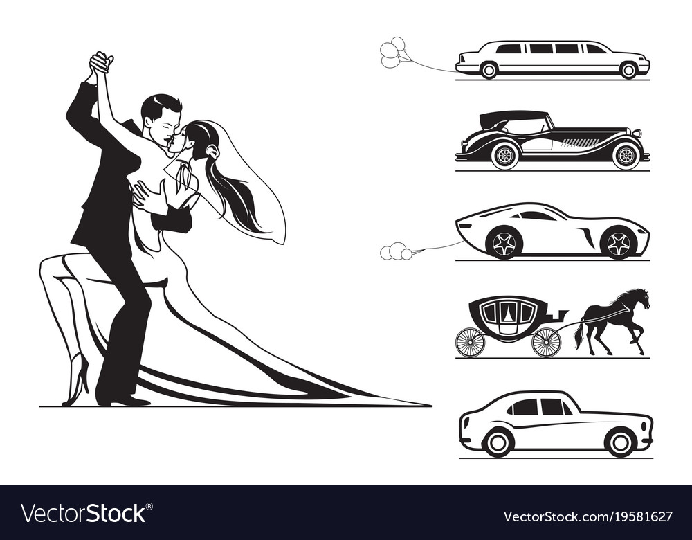 Couple of groom and bride with wedding cars