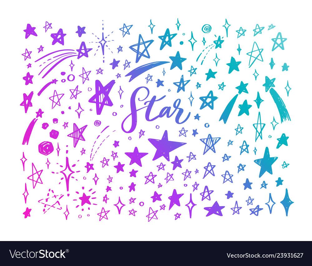 Doodle set of stars hand drawn sketch