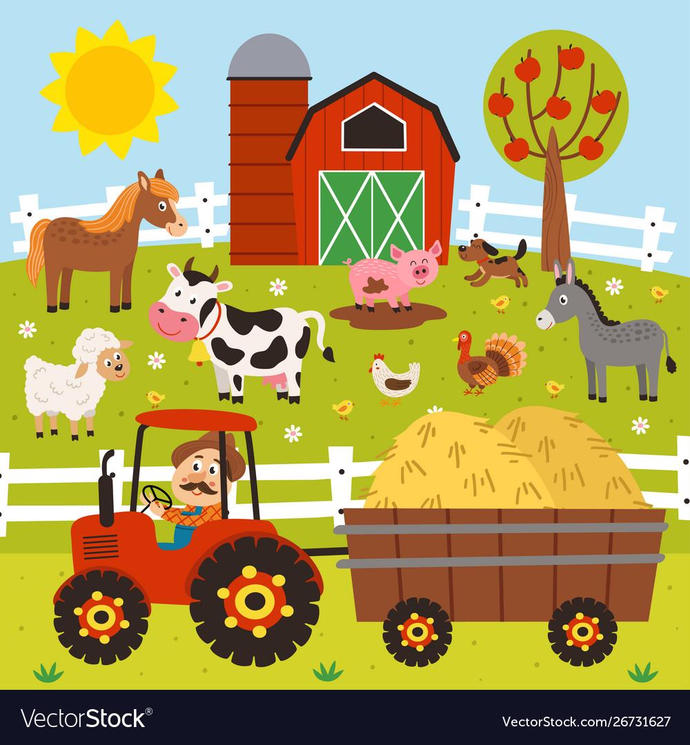 Farmer rides a tractor in barnyard