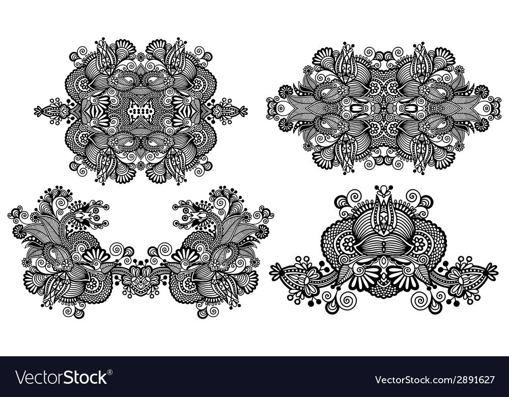 Four ornamental floral adornment