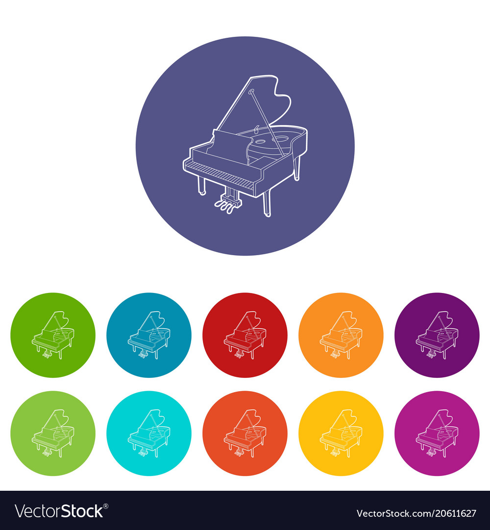 Grand piano icons set color