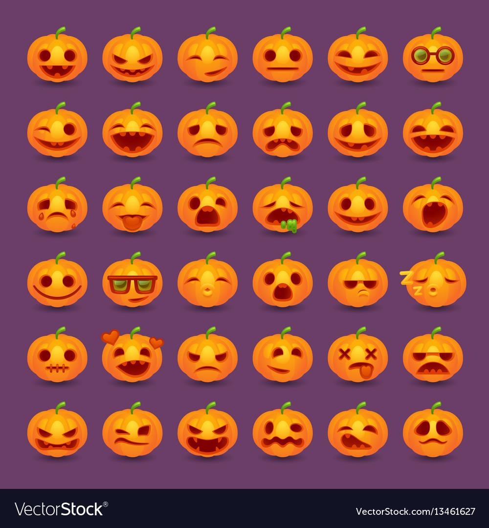 Halloween pumpkin emotions icon set