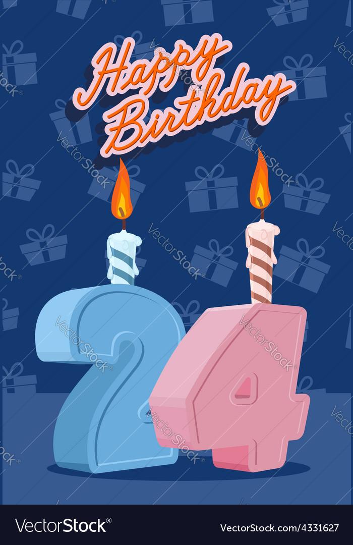 happy birthday card with 24th birthday royalty free vector