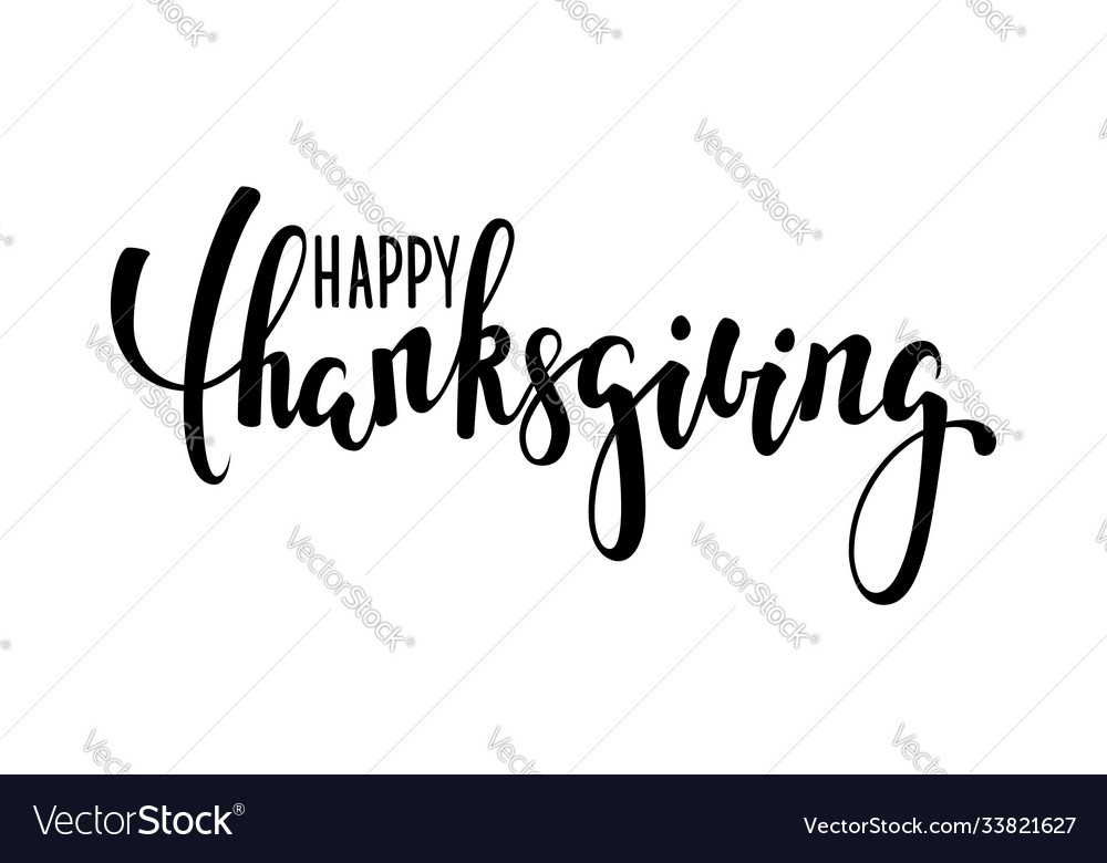 Happy thanksgiving hand drawn calligraphy and