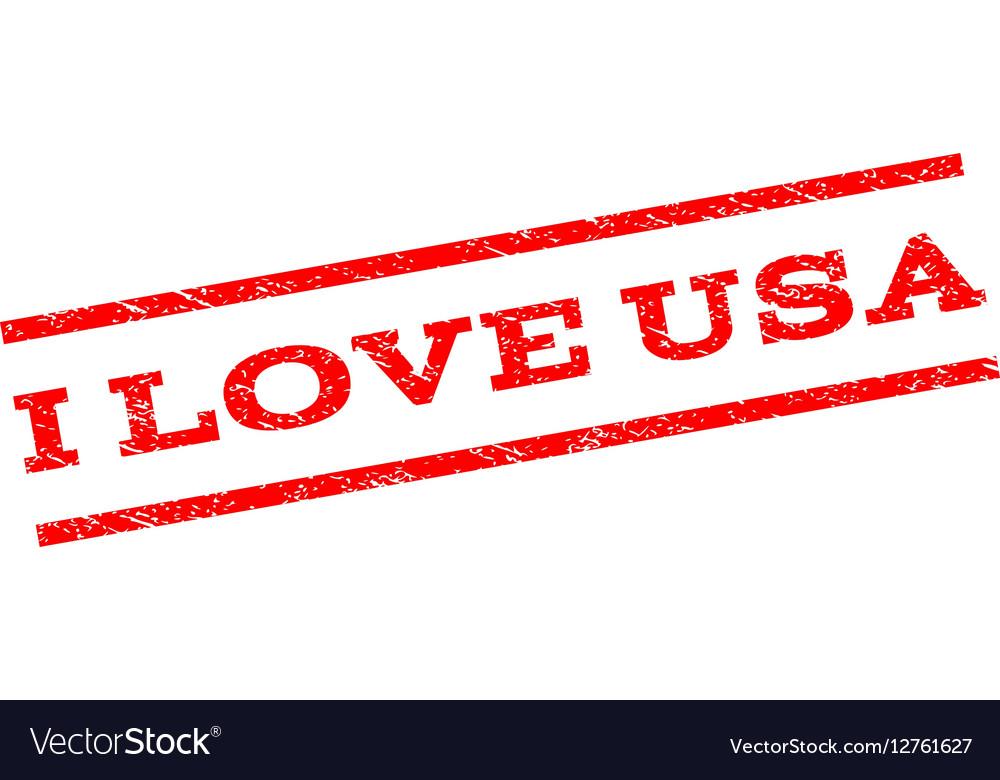 I Love USA Watermark Stamp