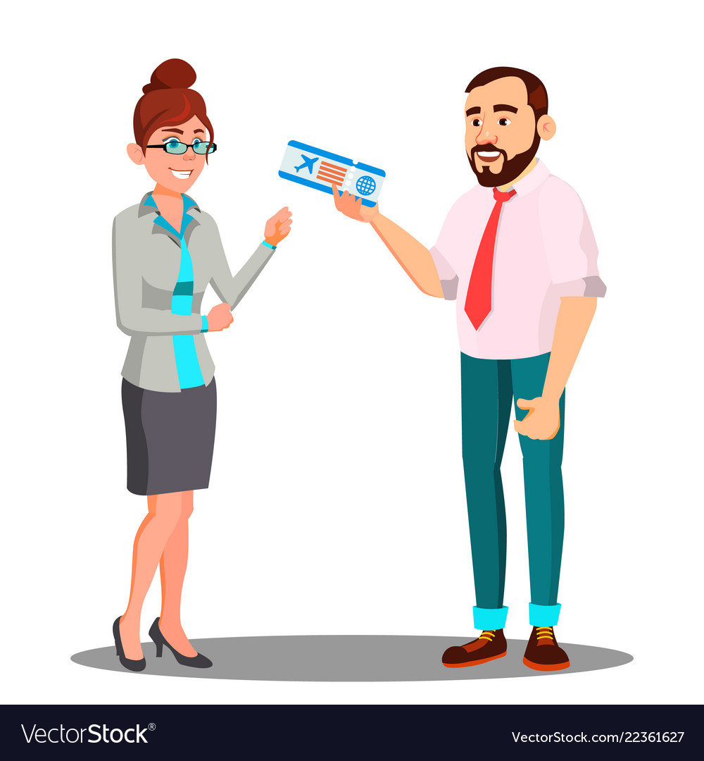 Man presenting airplane ticket to happy woman