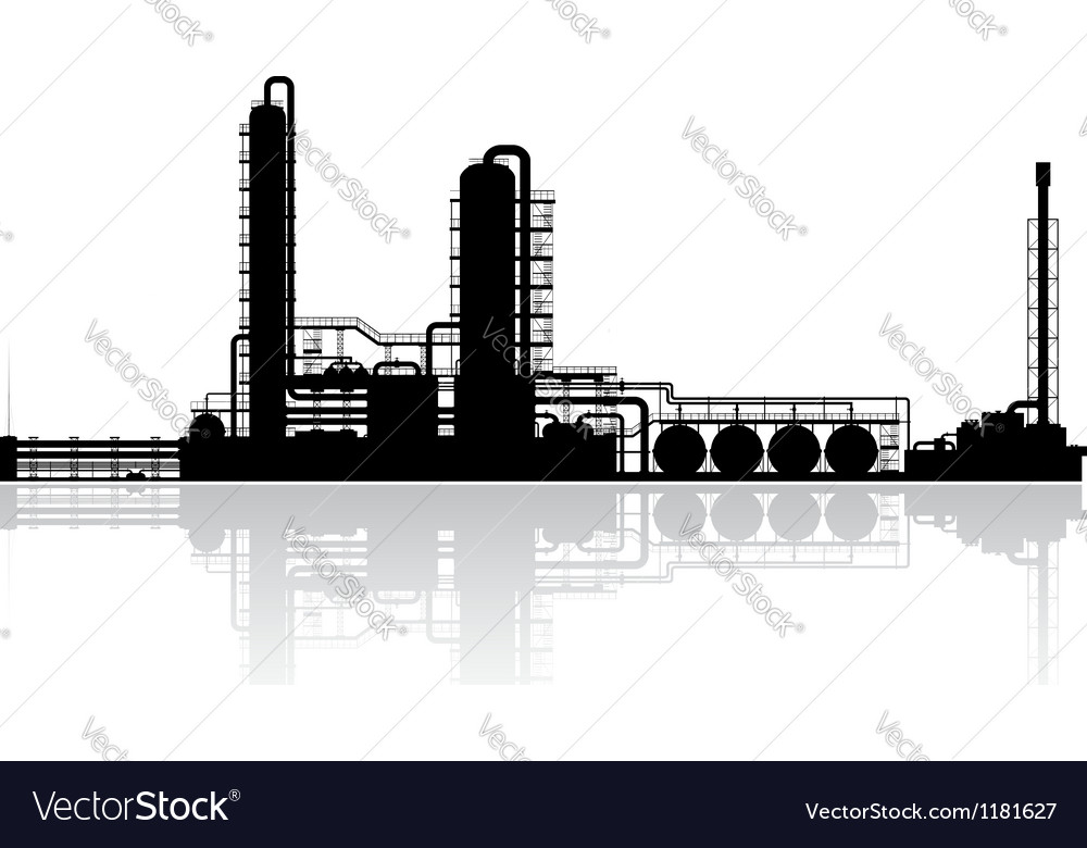 Oil Refinery Plant Silhouette vector image