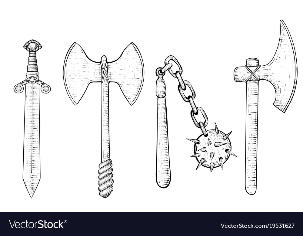 Old set of weapons hand drawn sketch vector image