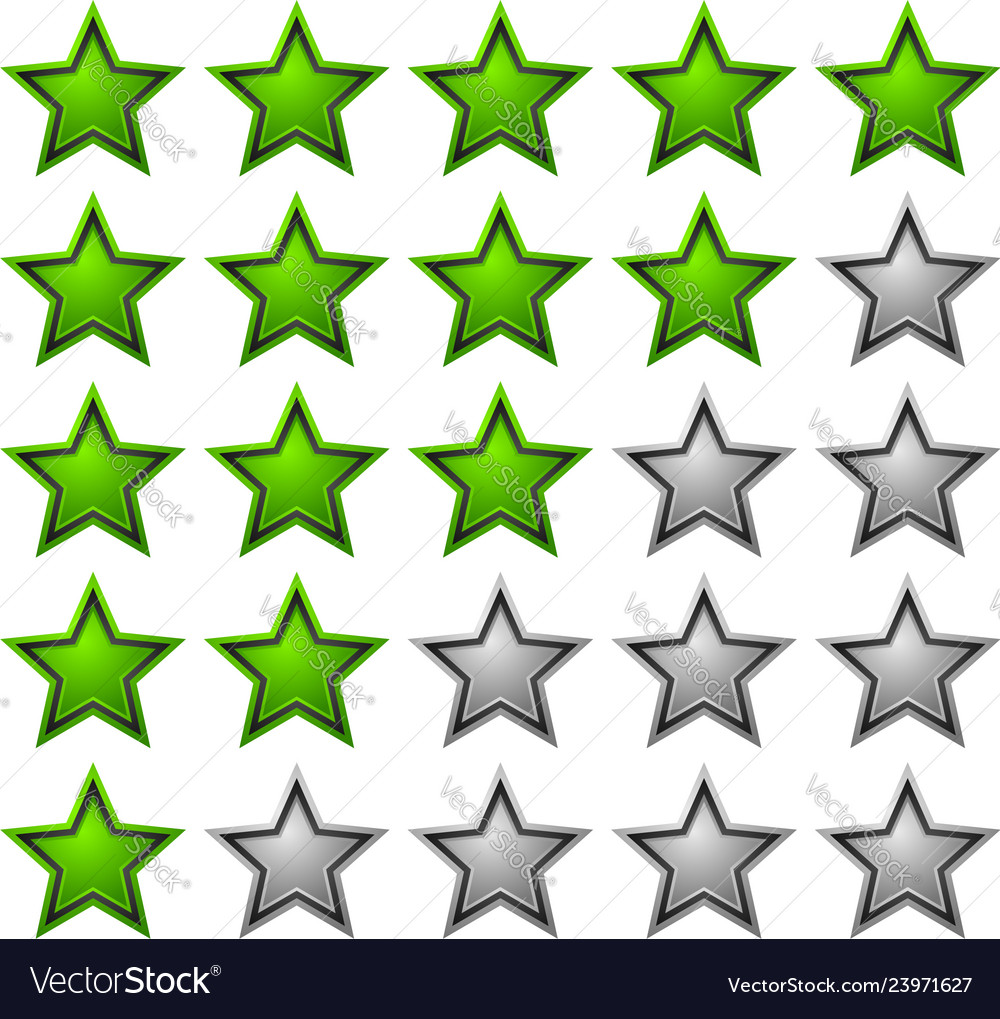 Rating stars with glossy vibrant stars 5 star