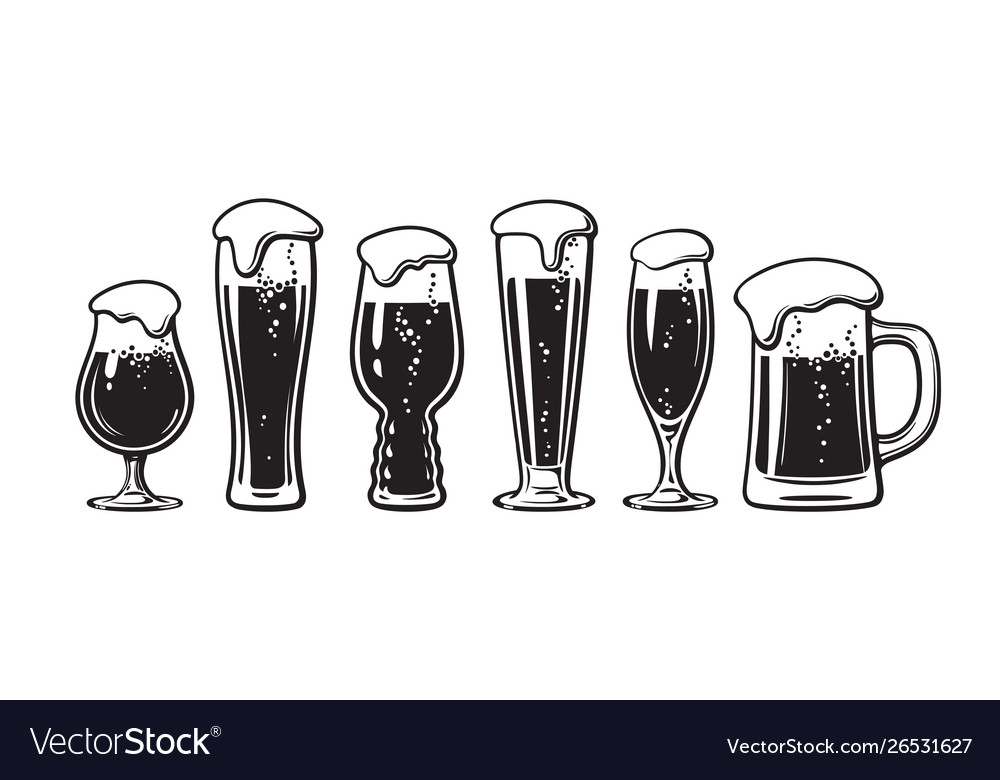 Set different types beer glasses hand drawn