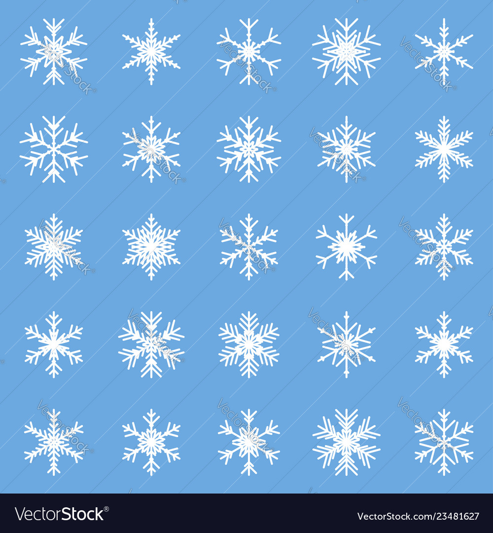 Set of different winter snowflakes blue white