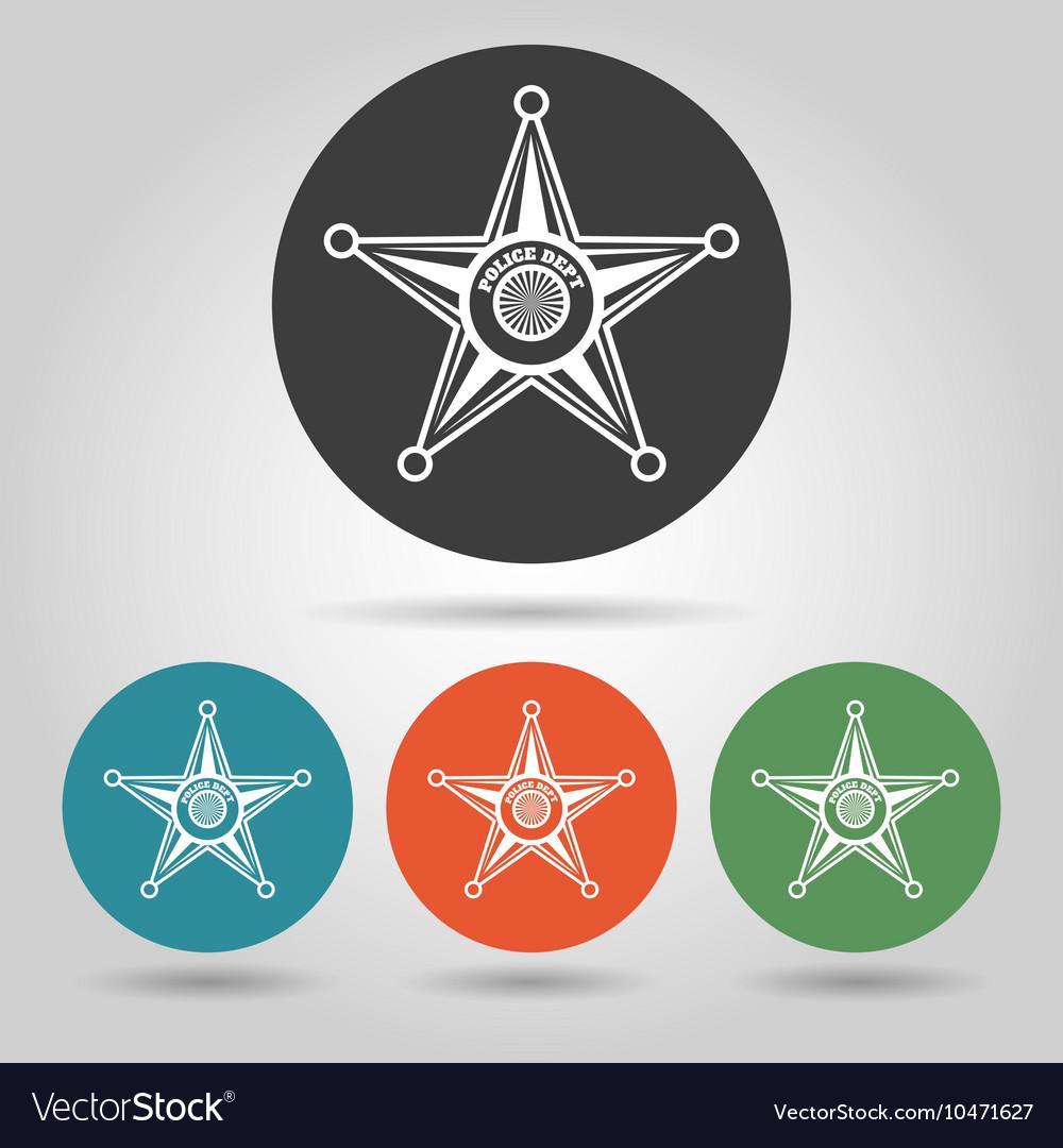 Sheriff star badge icons set