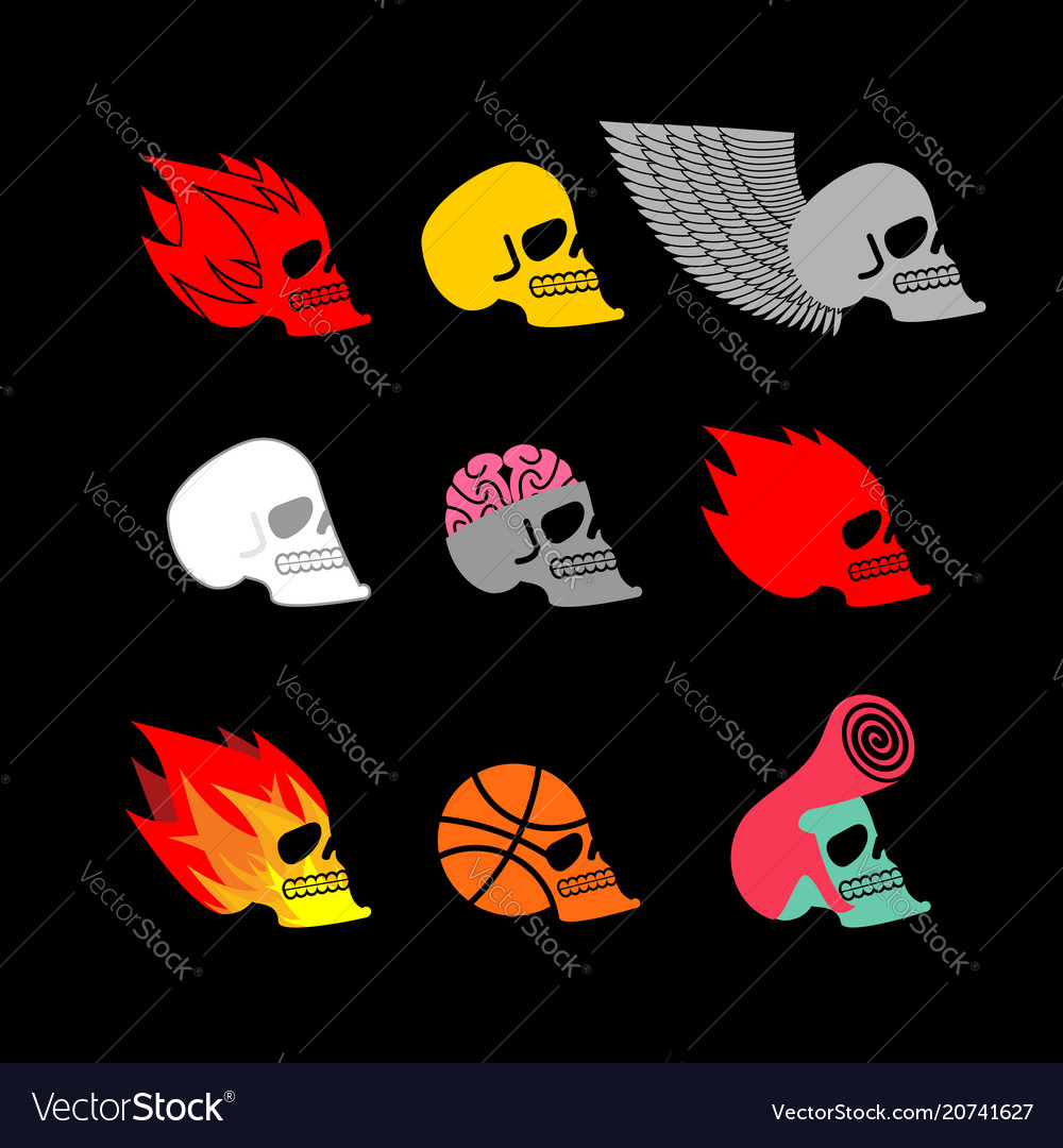 Skull set emblem head of skeleton and fire logo
