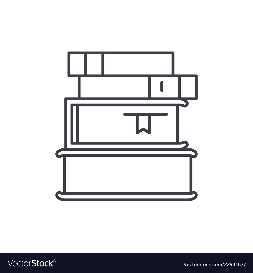 Stack of books line icon concept stack of books