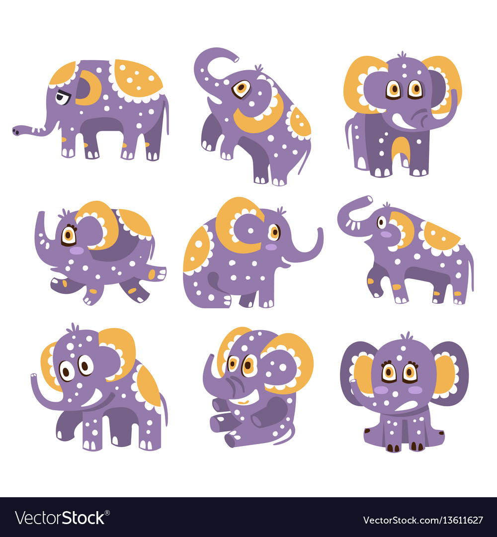 Stylized elephant with polka-dotted pattern series