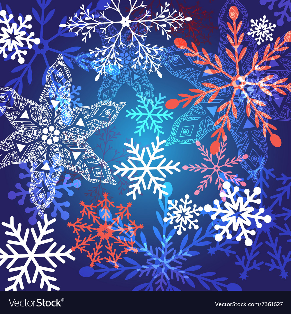 Winter graphic background with different snow