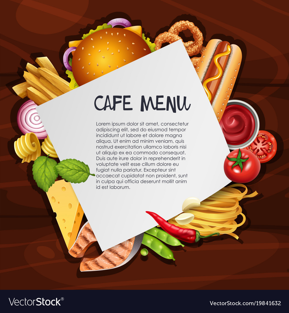 cafe menu background template with different vector image
