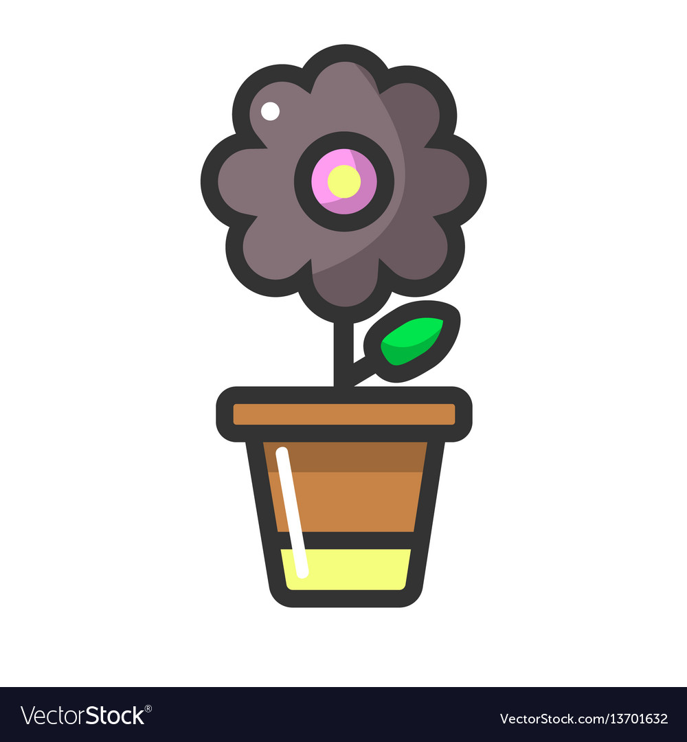 Dark purple flower in clay pot isolated on white vector image