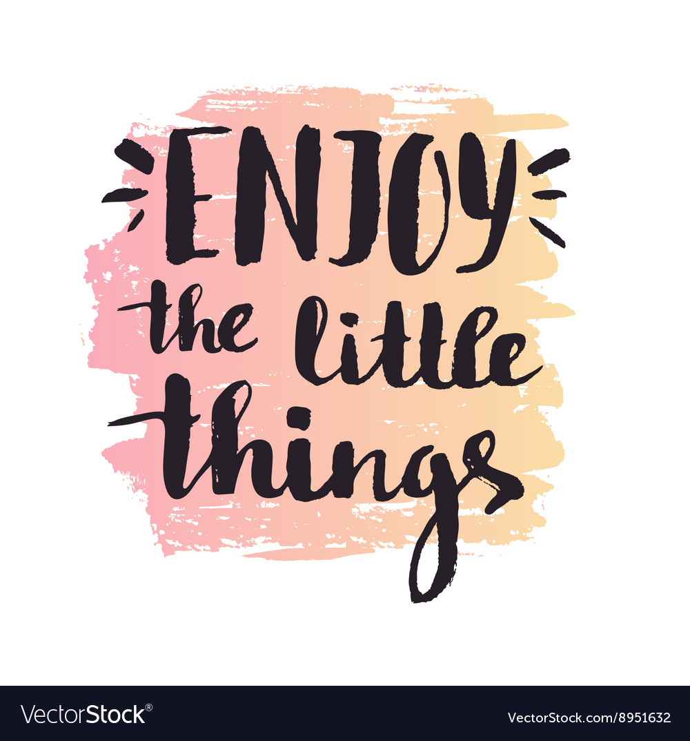 Enjoy the little things Modern calligraphy vector image