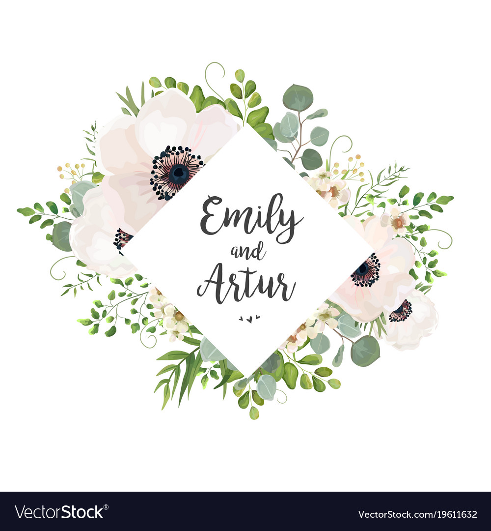 Floral wedding invite card design with flowers