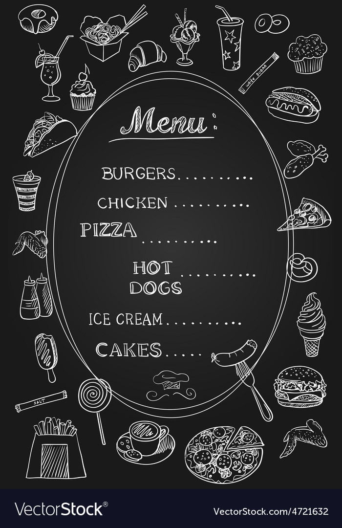 food menu on chalkboard royalty free vector image