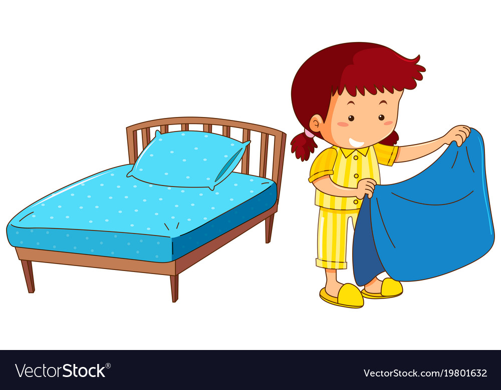 girl making bed on white background royalty free vector