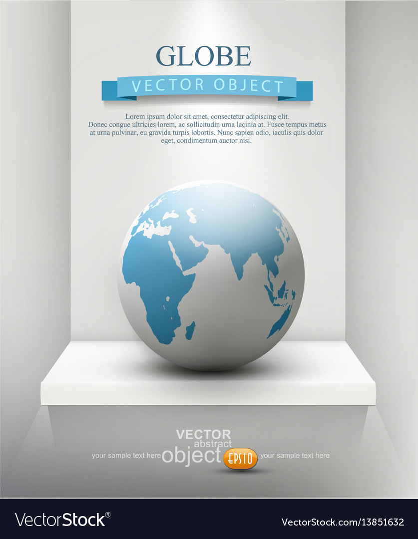 Globe standing on a shelf element for design vector image