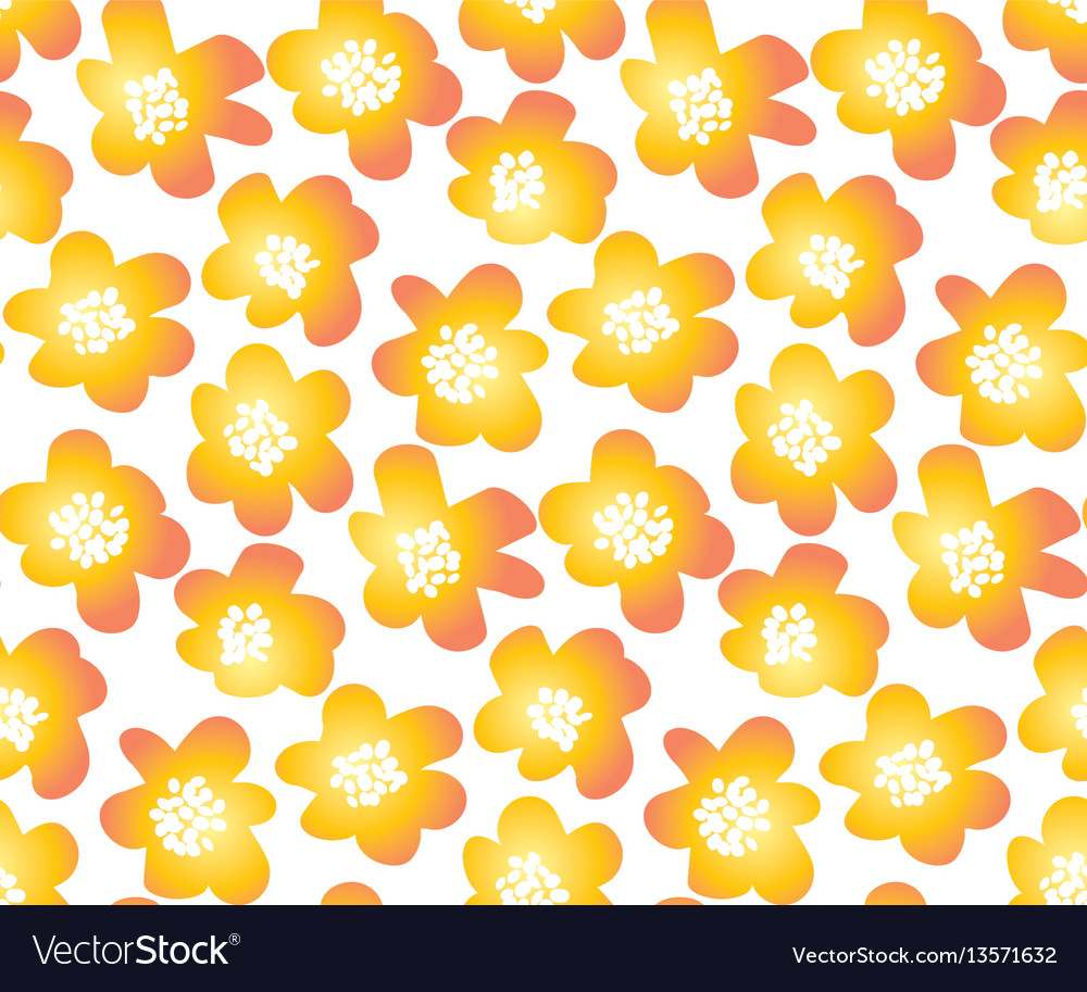 Hot orange color summer floral in retro 60s style