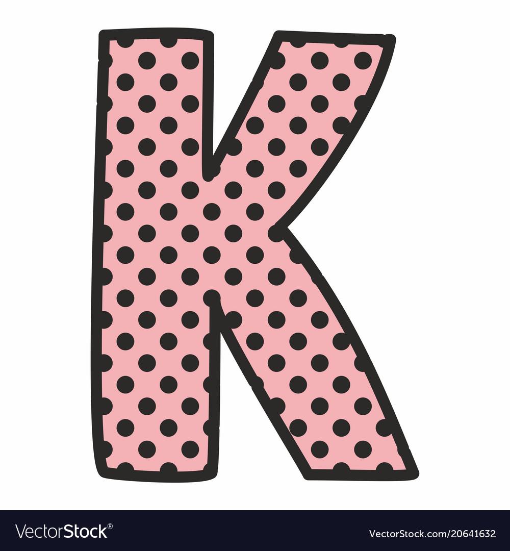 K alphabet letter with black polka dots on pink Vector Image