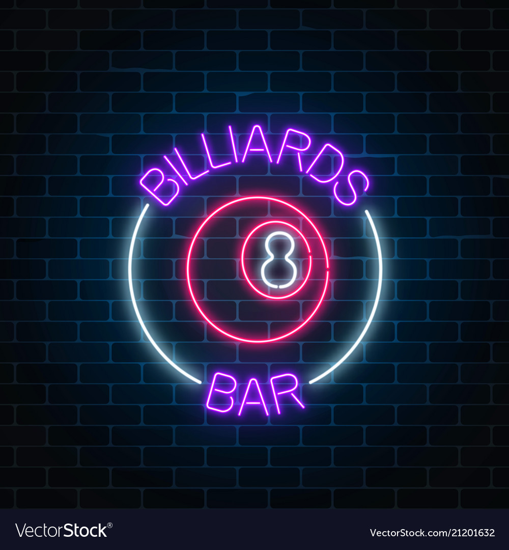 Neon billiards bar sign on a brick wall vector image