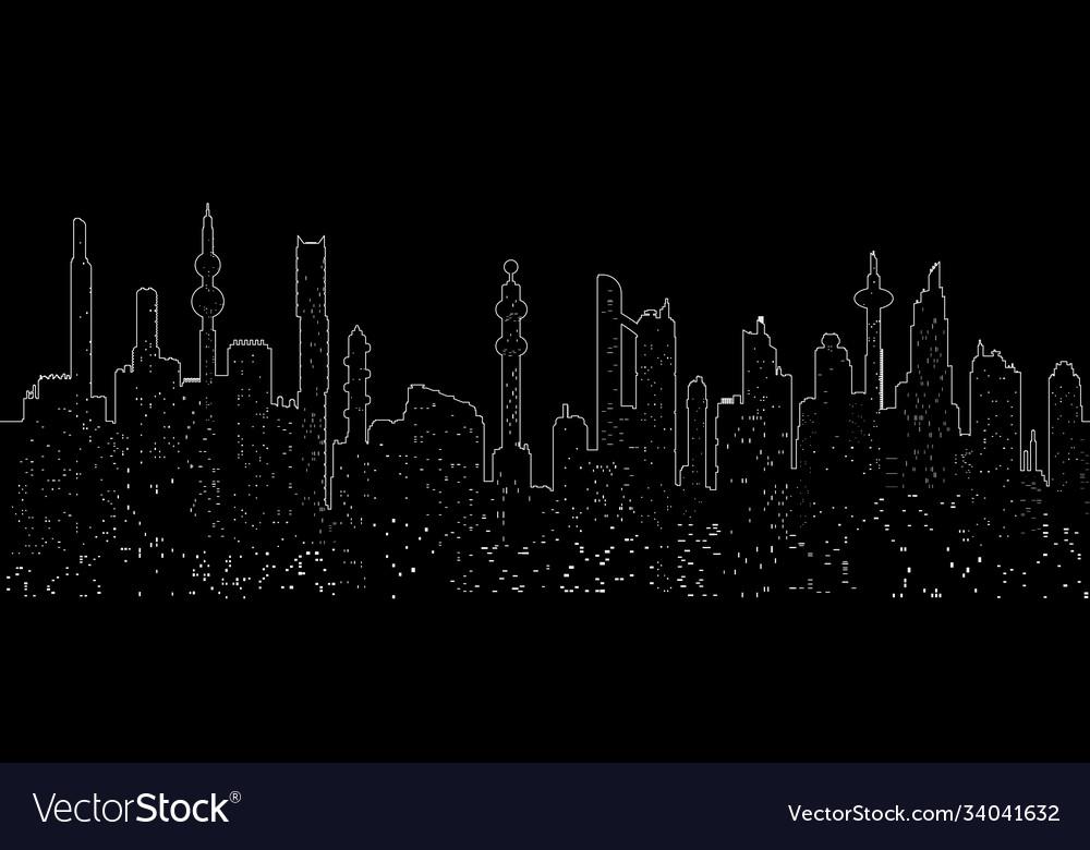 One line cityscape silhouette