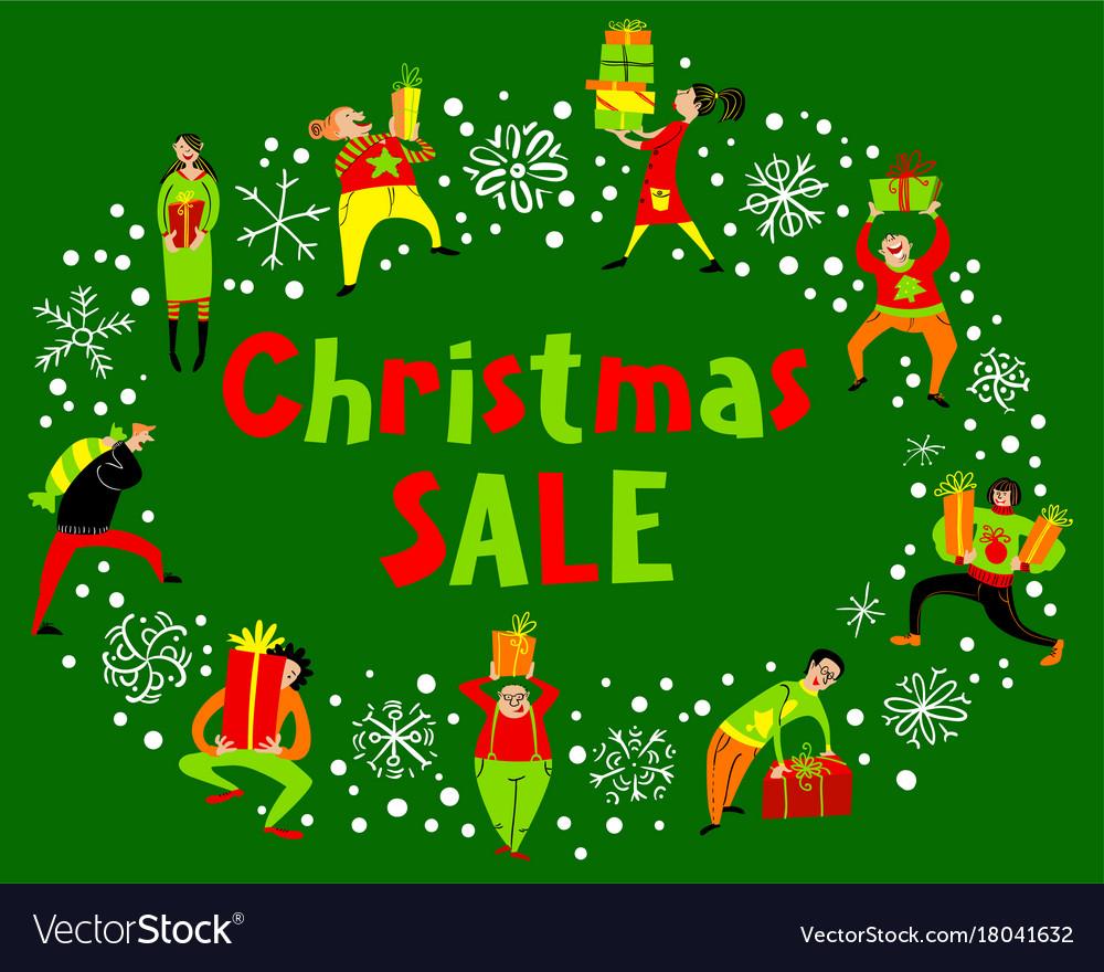 People with christmas gifts christmas sale Vector Image