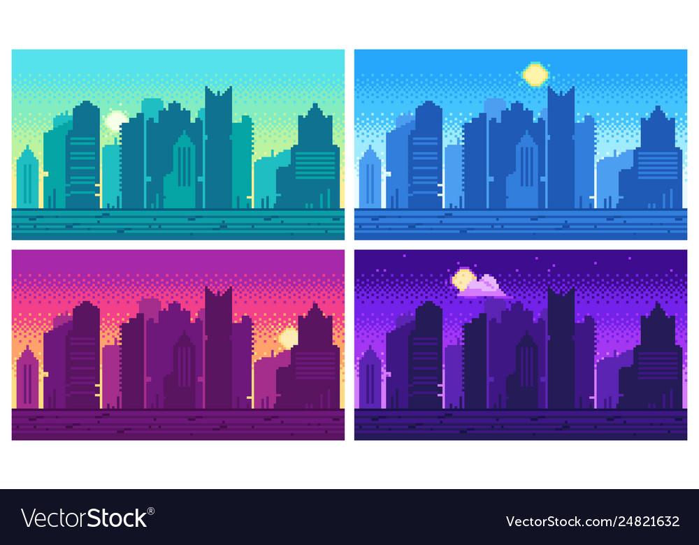 Pixel art cityscape town street 8 bit city