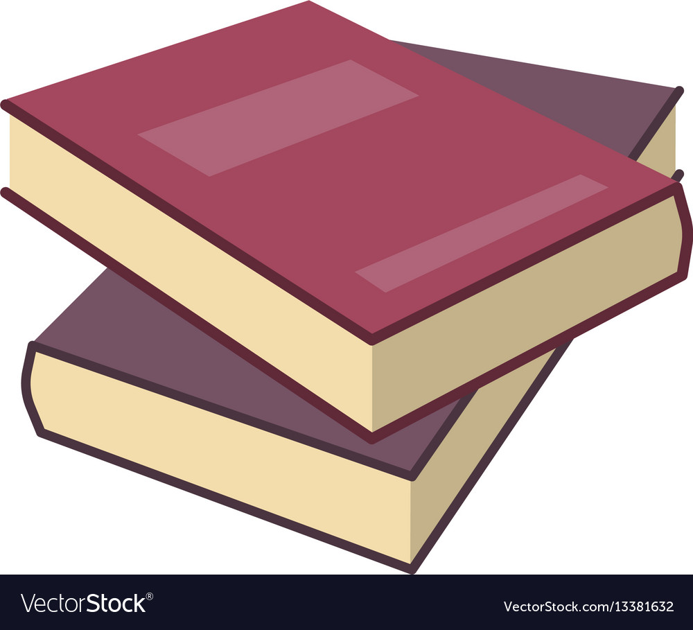 Red two isometric book in flat design style