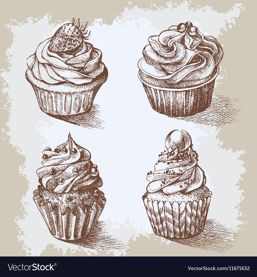 Set of sweet bakery decorated cupcakes hand drawn