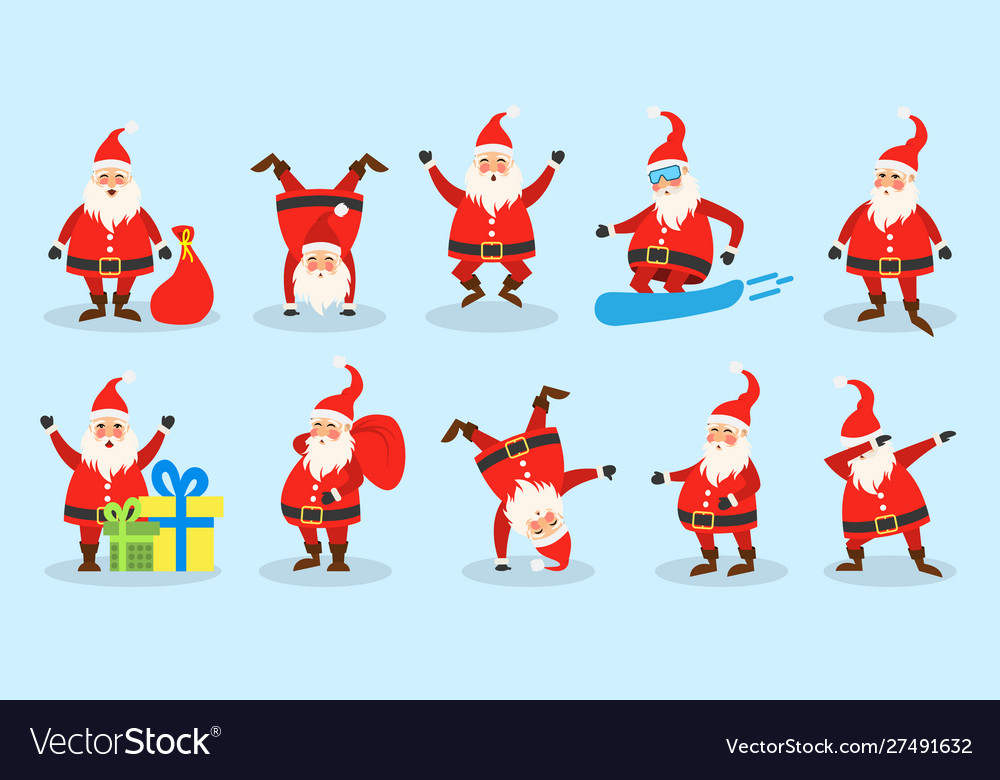 Set santa clauses christmas funny happy