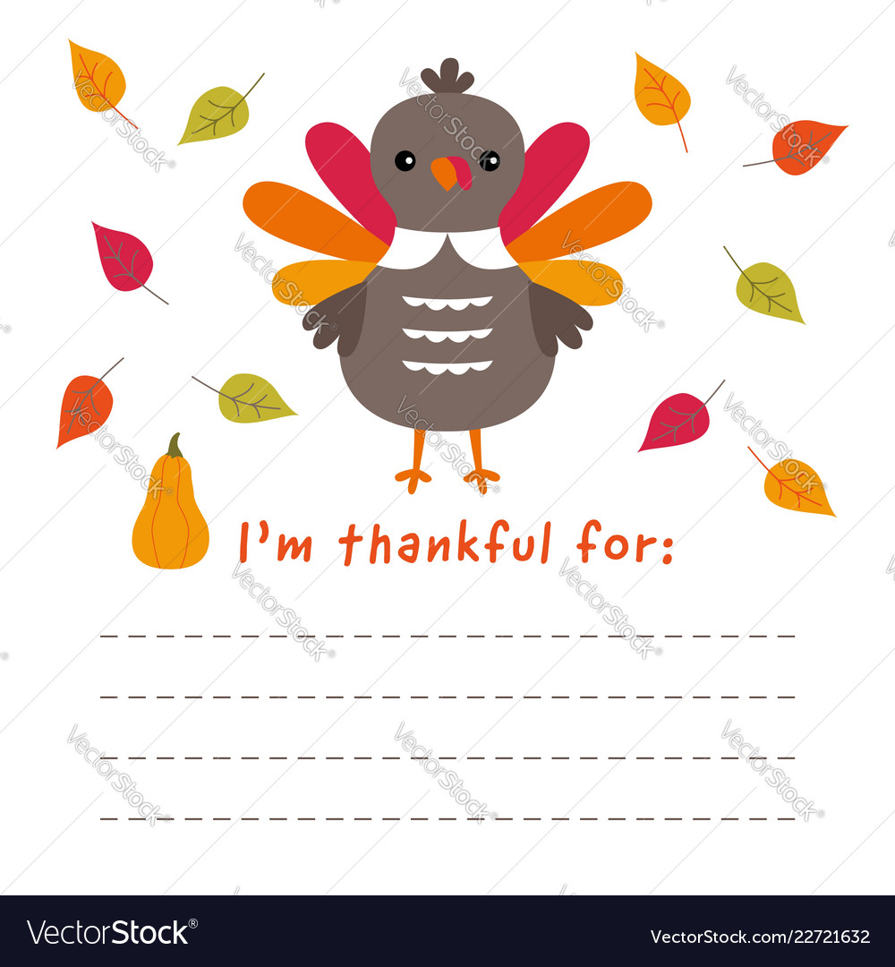Thanksgiving card with a turkey and a blank space