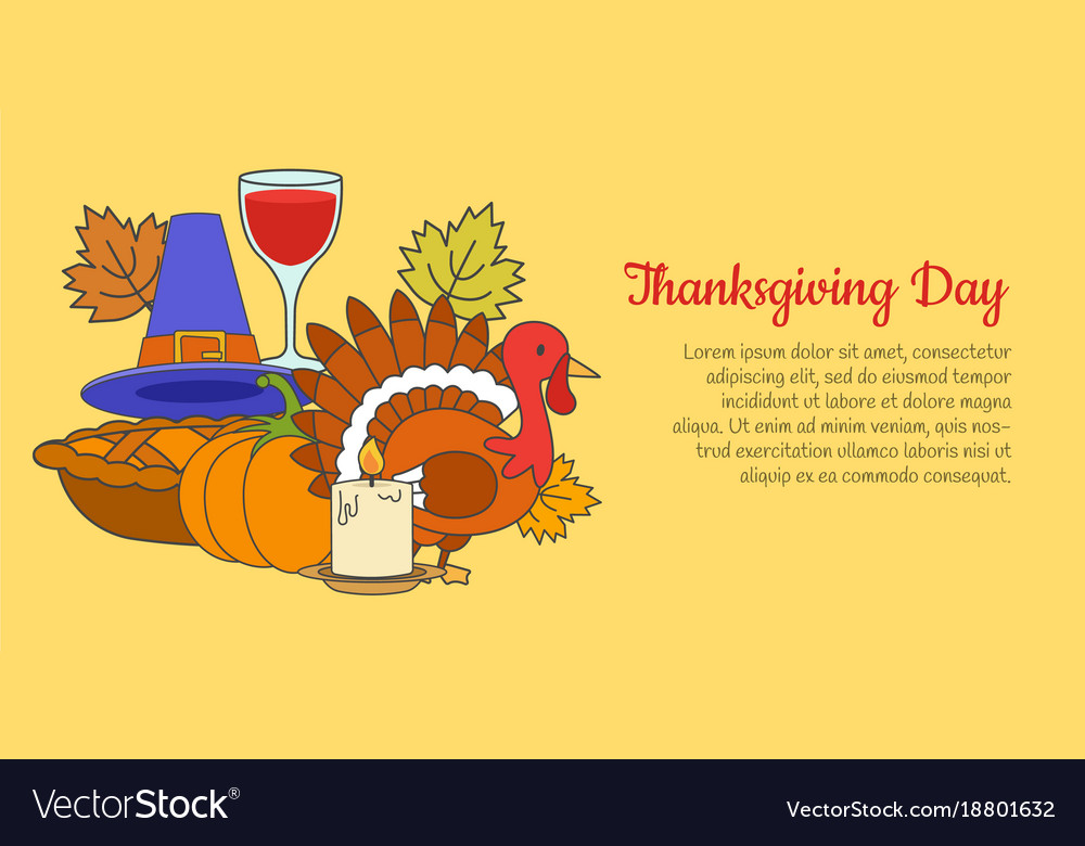 Thanksgiving day concept with holiday symbols vector image