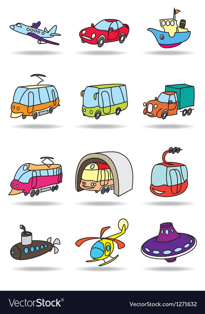 Transportations icon set vector image