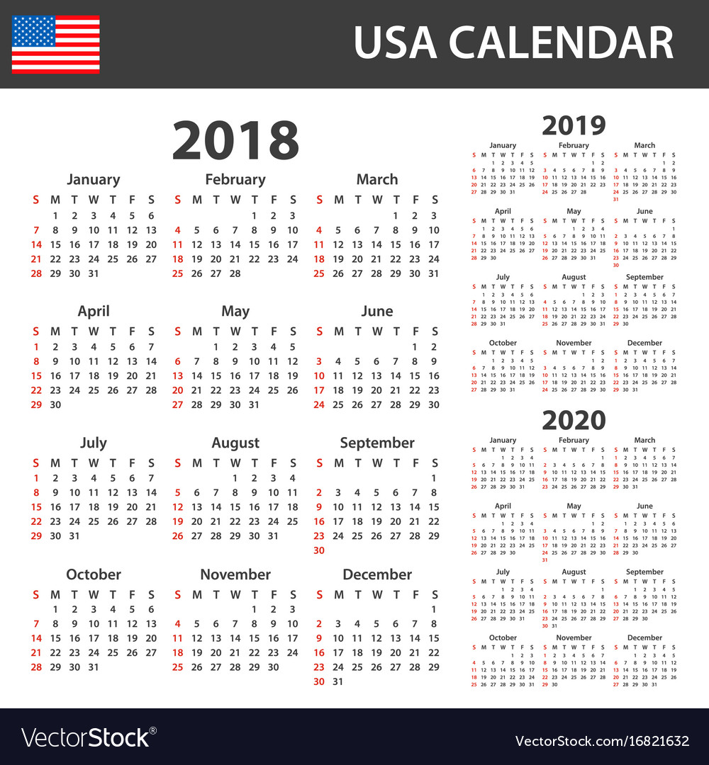 2020 Calendar Usa Usa calendar for 2018 2019 and 2020 scheduler Vector Image