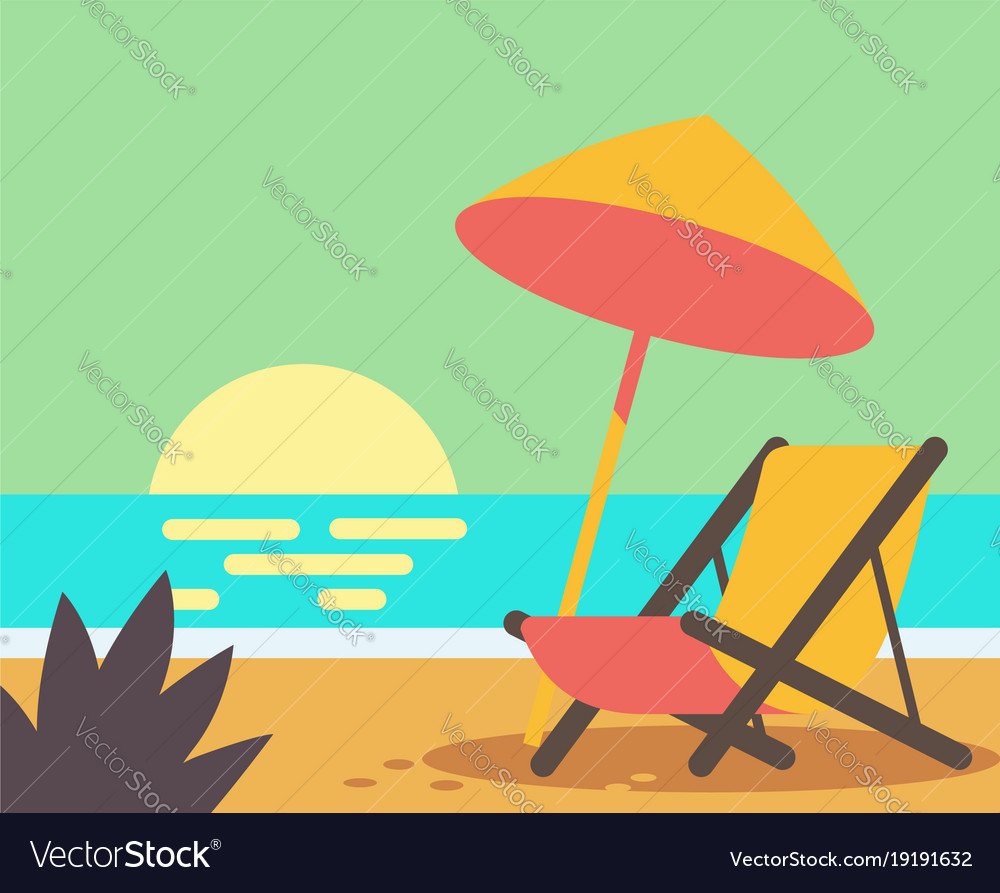 Wooden beach chair on beach