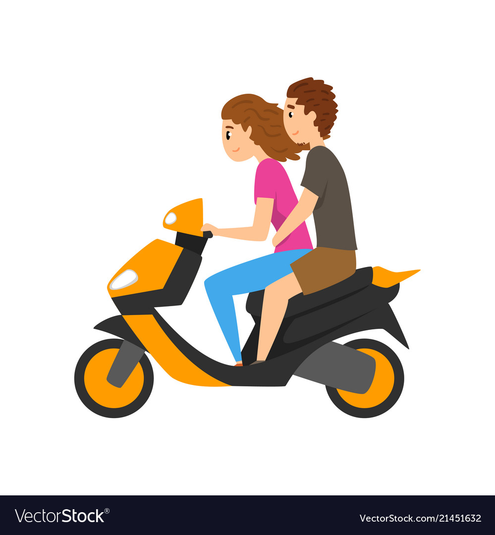Young man and woman riding scooter couple in love