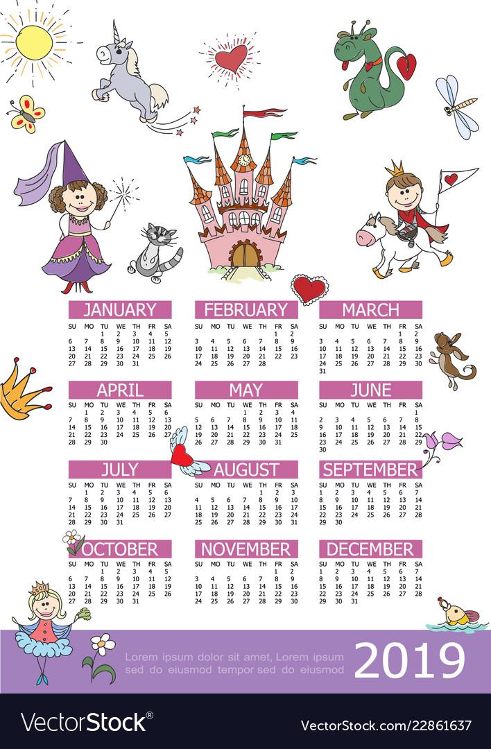 2019 year calendar fairytale kids template