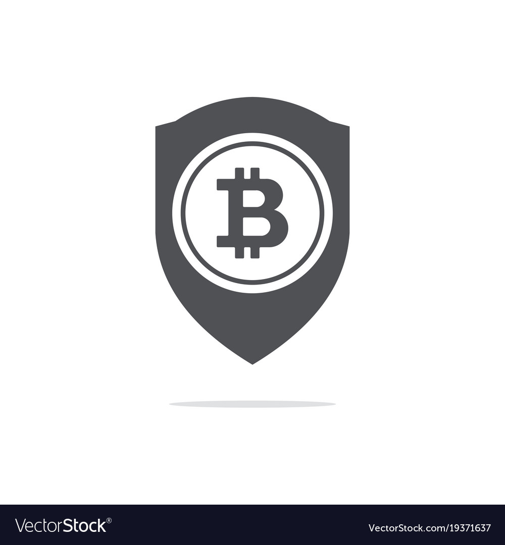 Bitcoin trust symbol on the shield line icon