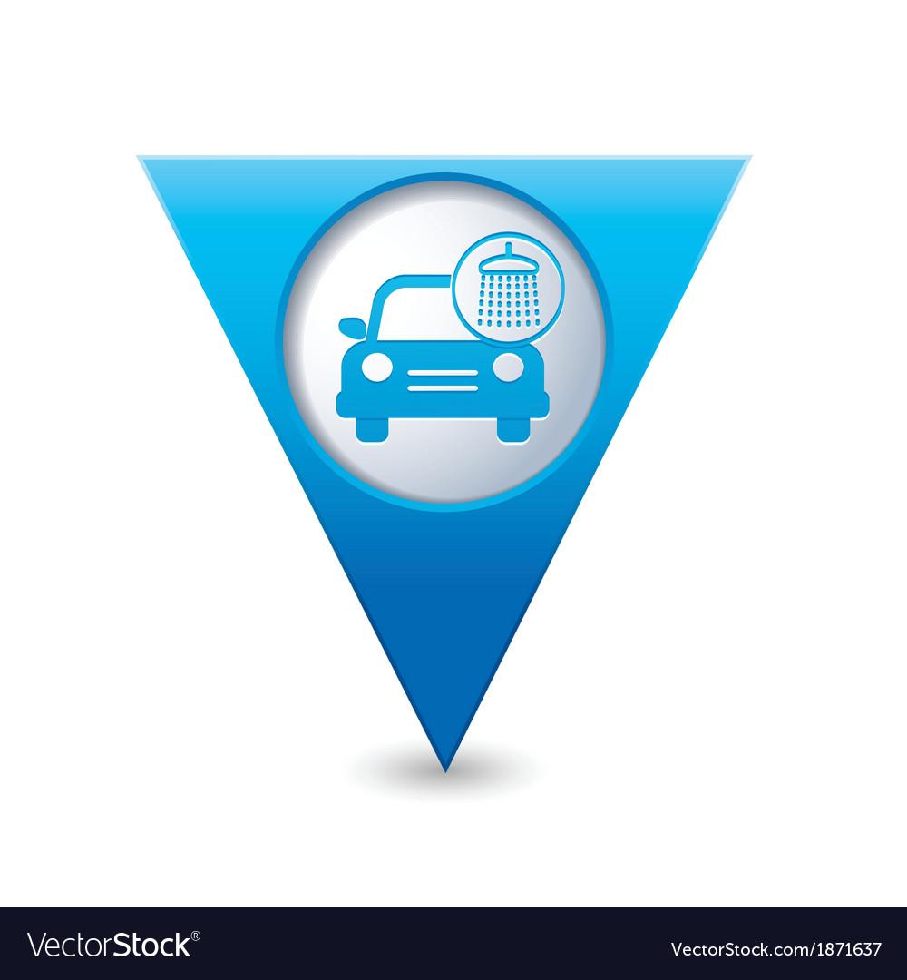 Car wash icon map pointer blue
