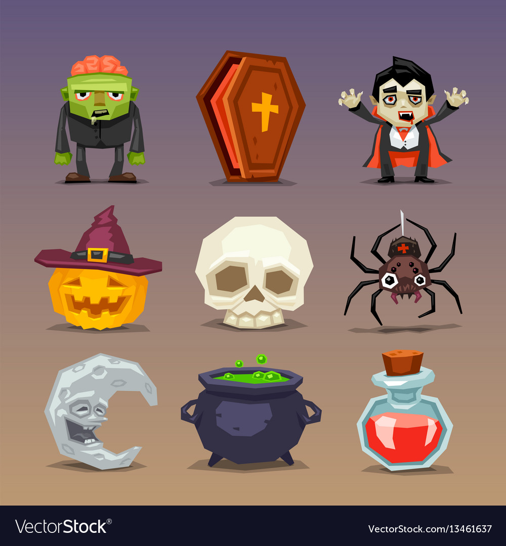 funny halloween icons-set 3 royalty free vector image