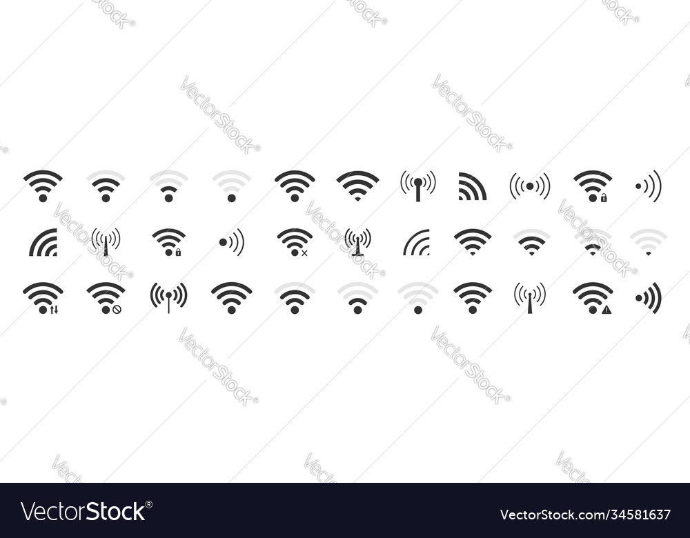 Icon wifi signal wireless internet symbol set