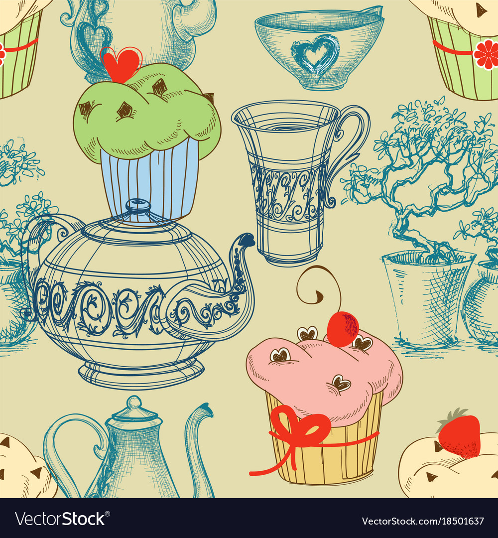 Kitchen and food seamless pattern coffee and tea