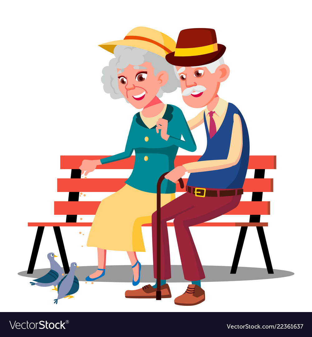 Senior age family couple sitting on a bench and